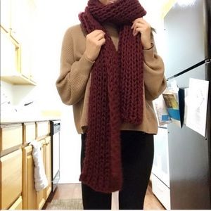 Korean Knit Scarves (Maroon & Tan)